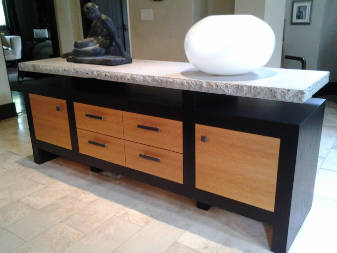 Modern buffet with cement top. Fine Furniture   Carson Finishing  design and architectural millwork